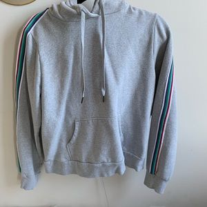 Grey sweatshirt with colorful lining on arms!